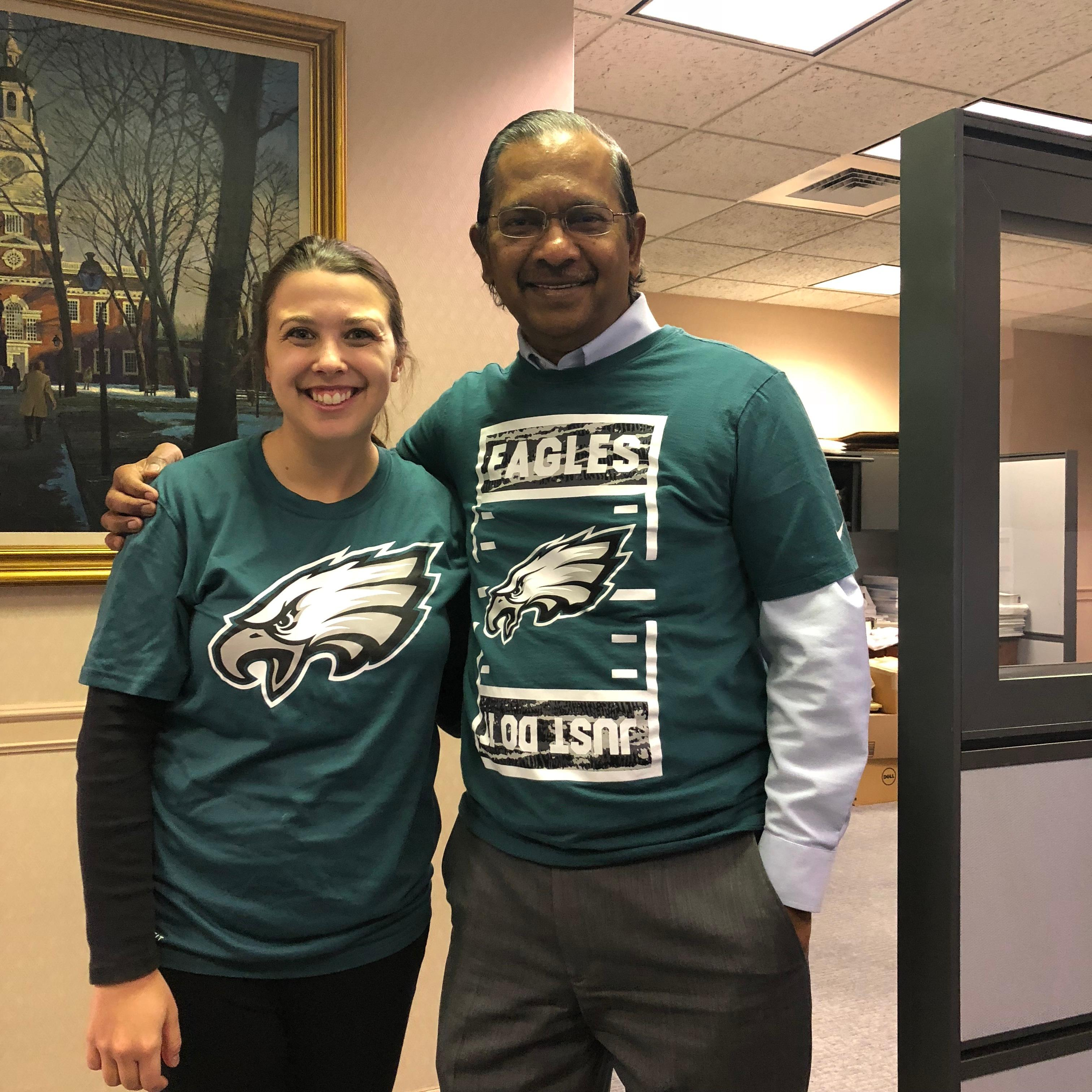 Julie and Francis sporting Eagles green