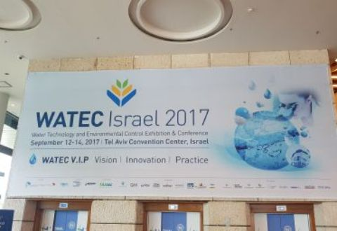 Watec 2017 hanging banner in Tel Aviv convention hall