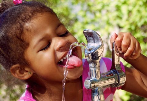 Little Girl At Water Fountain_Pink and Green