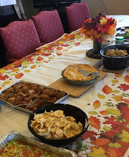 Thanksgiving table of food